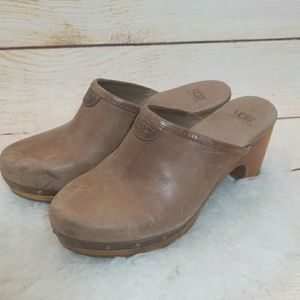 UGG Abbie wood clog mules slip on heel wedge sz 7